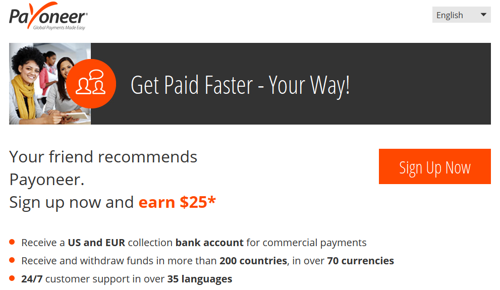 Payoneer Master Card Application Page