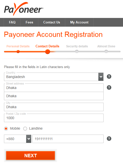 Payoneer MasterCard Sign Up Registration